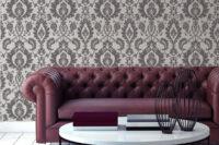 Bold Damask high end beaded wallpaper roomshot