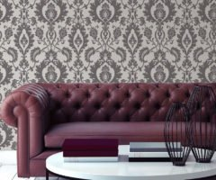 Bold Damask high end beaded wallpaper roomshot